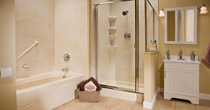 Almond walk in shower