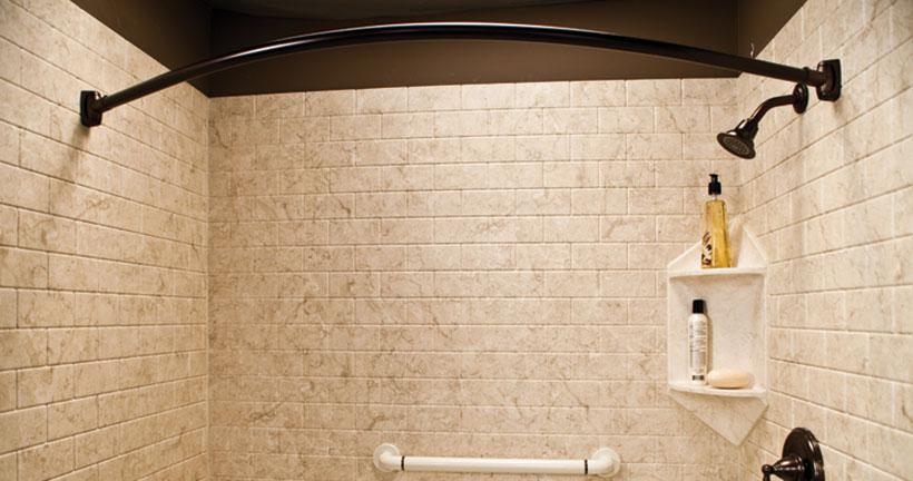 Brecchia subway walk in shower with oil rubbed bronze