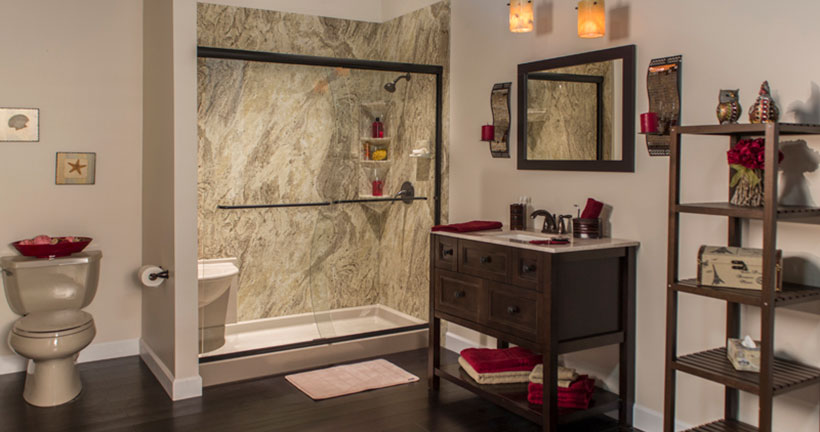 Valencia walk in shower with corner seat and shelves