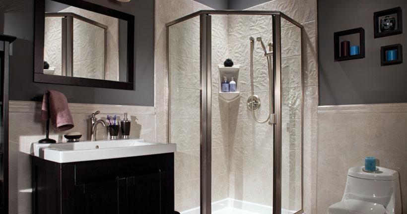 White corner walk-in shower with brushed nickel fixtures