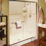 White walk in shower with smooth walls, Listillo trim and chrome