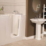White walk-in tub with roman stone accents