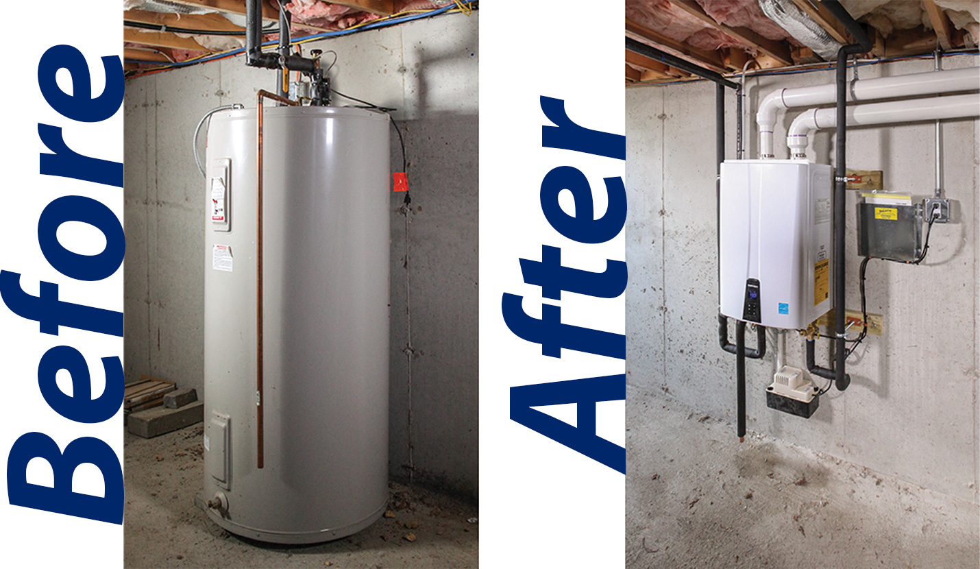 Before and After of Traditional to Navien Tankless Water Heater